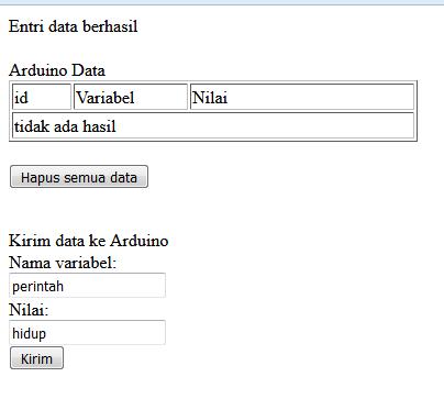 Komunikasi dua arah Arduino dengan Web Browser menggunakan MySQL