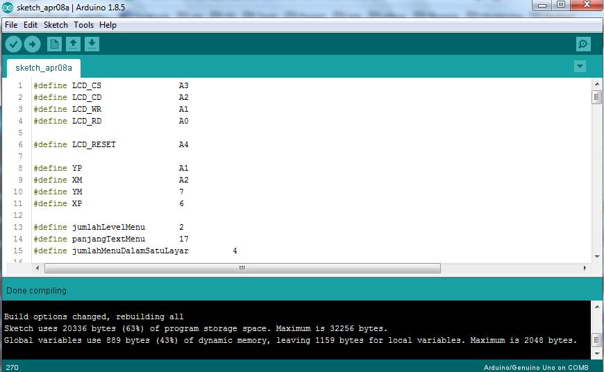 Menu sub menu arduino compile error